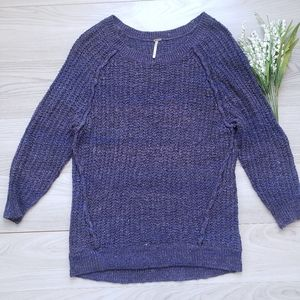 FREE PEOPLE knit sweater 3/4 sleeve purple B1